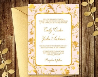 royal wedding invitation gilded roses blush pink diy printable template with gold