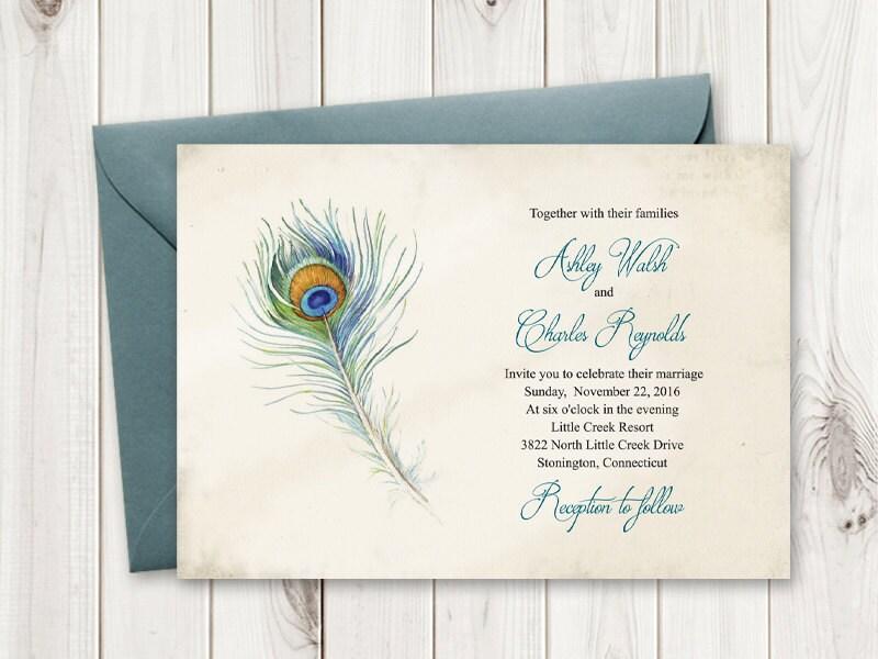 Peacock Wedding Invitations Template: Boho Wedding Invitation Peacock Feather. Vintage