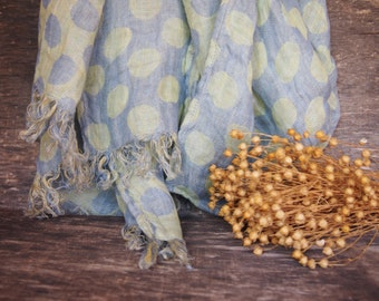 Linen Scarf, Eco Scarf, Natural Scarf, Blue, Yellow, Dots Scarf