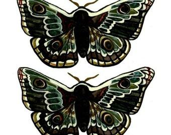MINKY & MIMI the MOTHS temporary tattoos pack - hand illustrated original designs