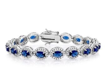 Sapphire Bracelet, Blue Bracelet, Crystal Jewelry, Bridal Bracelet, Blue Bridal Bracelet, Wedding Bracelet, Bridal Jewelry Zirconia Bracelet