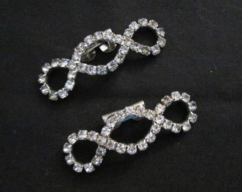 Pair of Vintage Rhinestone Shoe Clips 60's