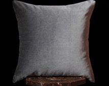 """Gray velvet pillow cover, 20""""x20"""",  cotton velvet accent pillow, grey throw pillow, masculine pillow cover, masculine gift, men gift"""