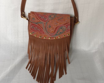 SOHO Paisley and Brown Leather Purse with Fringe
