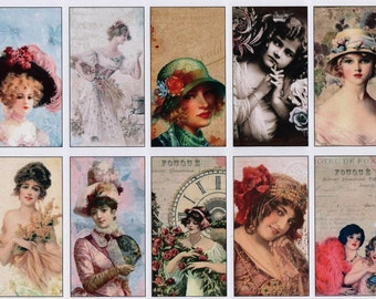 Vintage Beauties tags prints etc. 30 gift tags instant download victorian ladies and girls