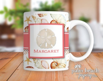 Sand Dollar Personalized Ceramic Mug - Monogrammed Seashell Coffee Cup - Beach Theme Custom Mug - Shell Pattern