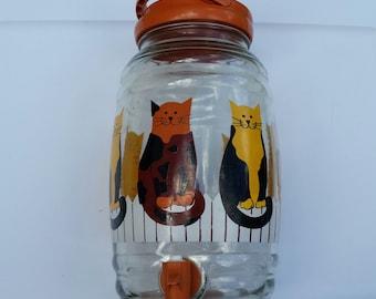 70s Vintage Cats Gallon Sun Tea Jug / Spigot Jar / Kittens / Cat / Lemonade Jug / Classic / Rare / Pussy Cats / Picnic / Retro / Tea Jar