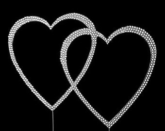 Completely Covered Swarovski Crystal Double Heart Small Silver Cake Topper