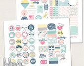 Pastel planner stickers printable,White cat planner stickers,Cute decorative planner stickers,various sizes,personal planner stickers