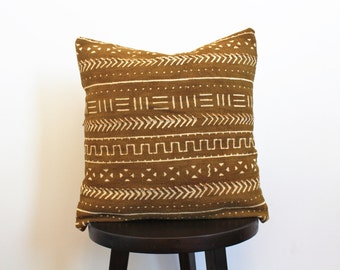 MUDCLOTH PILLOW COVER // African mudcloth, mudcloth, pillow cover, bogolan, bohemian, mustard mudcloth
