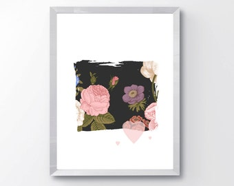 The Moody Blooms wall art, giclee print, floral print, modern print, abstract art, abstract floral art, home decor, nursery decor art