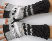 For MELISSA Gloves / Fingerless Mittens Cabled Romantic Striped Warm Accessories Women Elegant Feminine Wrist Warmers Winter Gift Ideas 542