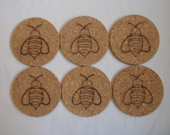 Bumblebees ,Ladybirds or Butterflies Cork Coasters, Fun Coasters, Decorative Coasters.