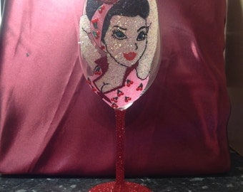 Large red wine glass pin up girl design mothers day gift