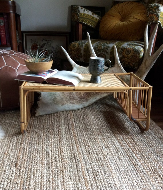 Rattan Coffee Table Etsy: Vintage Bamboo Wicker Large Serving Tray // Rattan Coffee