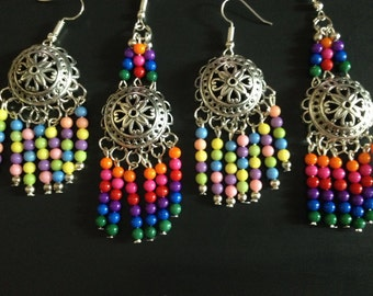 Boho style earrings, Multicolor earrings, pastel earrings, hippie style earrings, large earrings, big earrings, Chandelier earrings,
