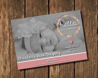 Birth Announcement, Girl Birth Announcement, Hello Birth Announcement, Pink Birth Announcement, B&W Photo Birth Announcement