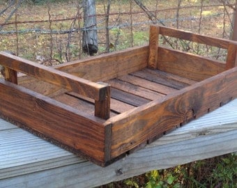 Wood Slat Tray | Rustic Crate | Rustic Tray | Centerpiece