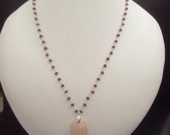 Pendant Necklace Pink Aventurine and Rhodolite Garnet