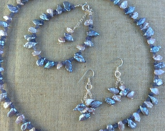 Keshi Pearl Necklace, Bracelet and Earring Set
