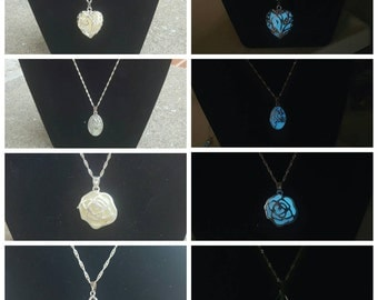 Glow in the dark heart, flower, claw, or tree of life necklace