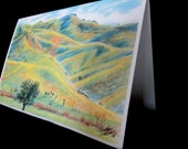 Hillside country scene, Outstanding in your field card,  colored pencil over the hill card print