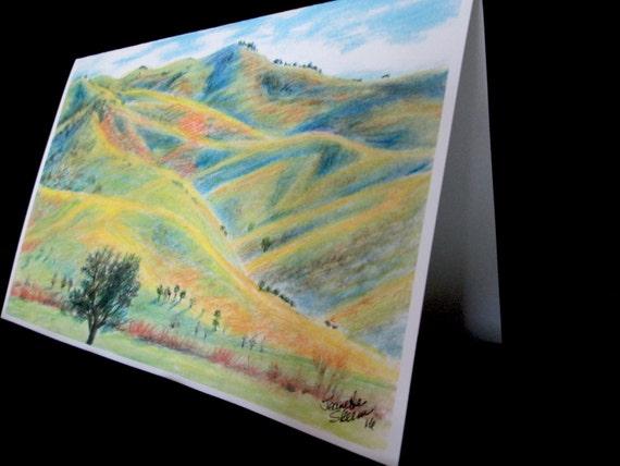 rolling hills of Utah colored pencil card print