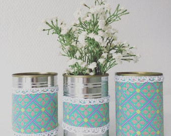 Set of 3 Upcycled Cans Turquoise