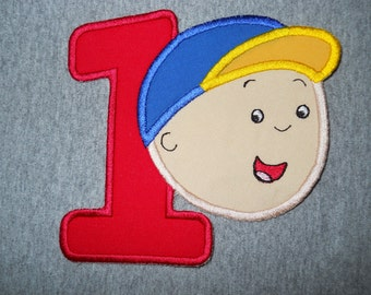 Made to order ~ Little Mr Cail with Number (You Choose a number) iron on or sew on applique patch