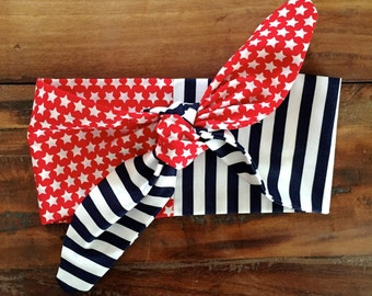 Stars and Stripes Tie Headband
