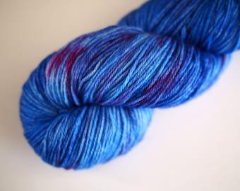 Blue Ruin:merino-nylon sock hand dyed yarn