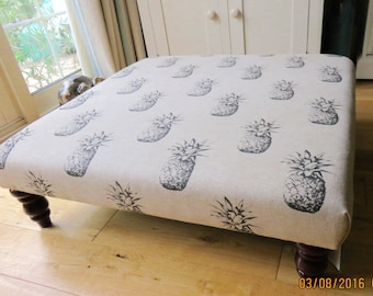 Large square footstool / coffee table upholstered in charcoal ananas pineapple linen fabric