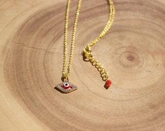 Rhinestone Evil Eye Necklace /Red Evil Eye  Necklace / Evil Eye Necklace