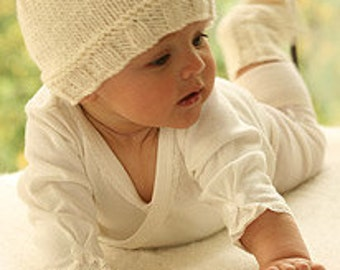 Baby Hat, merino wool, hand knitted, superwash merino wool, off white, cerise, light pink