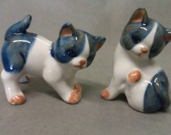 Blue Grey Tan and White Kittens Figurines