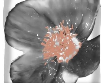Grey Soft Salmon Poppy Duvet,Unique Designer Duvet Cover,King,Queen,Full,Twin,Bedroom Decor,Home Interior,Floral Comforter Cover,Boho Chic