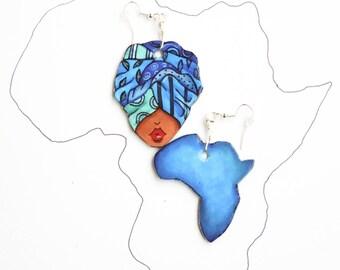 Paper Earrings - Afro Earrings - Custom Earrings - Paper Jewelry - Mismatched Earrings - Afro Jewelry - Recycled Jewelry  - Boho earrings