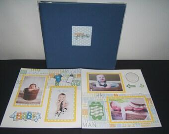 Baby Boy Scrapbook Album - Baby Boy Photo Album - Baby Boy Shower Gift - 12 by 12 Baby Boy Album - Baby Boy Photo Book - Baby boy pages