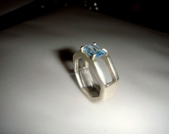 sterling silver topaz handmade ring SIZE L