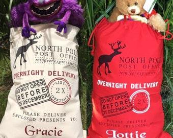 Personalised santa sack, santa sack, santa sack with name, christmas gift sack, christmas, christmas gift