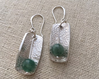 PMC fine silver dangle earrings with bead.  Decoration both front and back.