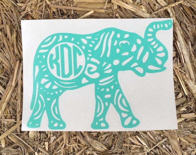 Aztec || Aztec Monogrammed Elephant || Monogrammed Elephant || Car Decal || Monogram