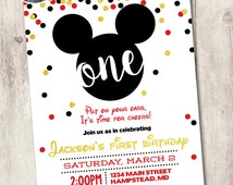 mickey mouse first birthday invite, boy 1st birthday gold glitter confetti printable invitation, put on your ears customize personalize