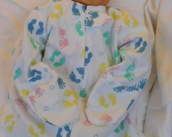 FLANNEL BABY SLEEP Sack -- Colorful Hand and Footprints on white  Large Only