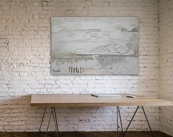 Acrylic Painting,Original,Skyline,Abstract painting, Canvas WallArt, Original Artwork, DutchArt, 47,2 x 31,5 Handmade by Andrea Janssen