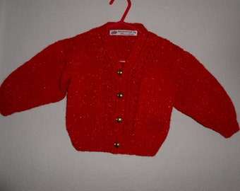 Hand Knit Toddler, Red Sparkle Cardigan, Trendy Toddler, Toddler Cardigan, Toddler Clothing, Hand Knit Toddler, Hand Knitted Cardigans