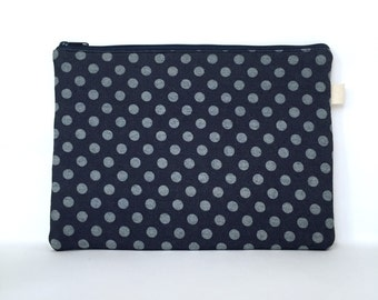 MacBook Pro Sleeve 13, MacBook Sleeve 13, MacBook Pro 13 Retina Case, Laptop Case, Laptop Sleeve, Handmade Laptop Sleeve - Denim Polka Dots