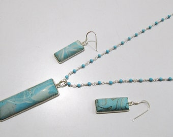 Sterling Silver Pendant Set with Turquoise Rosary chain/ Fancy Shape Stone / Size18x68mm including Bail /Blue Turquoise Stone Jewelry