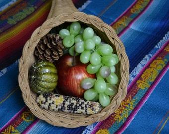 Cornucopia basket with fruit, gourd, Maze, Corn, pinecone, thanksgiving, centerpiece, Decor, table setting