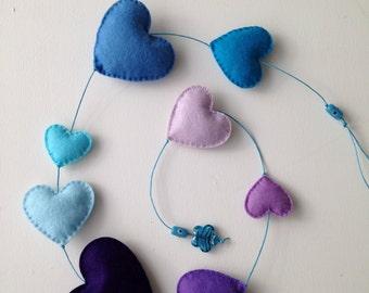 Blue & Purple Felt Heart String